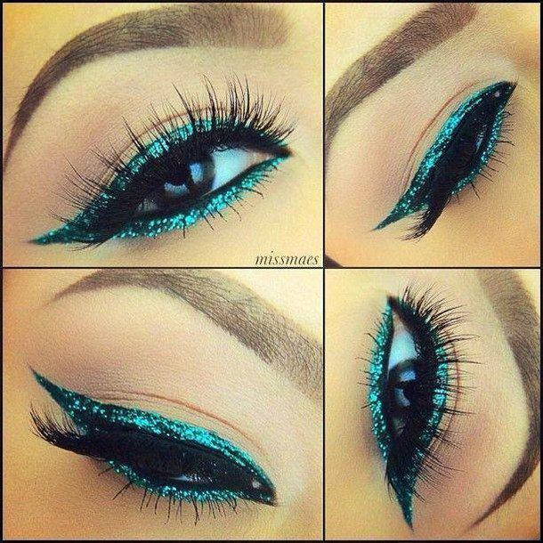 ✝☮✿★ MAKEUP ✝☯★☮Eye Makeup, Cat Eye, Aqua Blue, Urban Decay, Glitter Eyeliner, Makeup Eye, Blue Eyeshadow, Eye Liner, Blue Eyeliner
