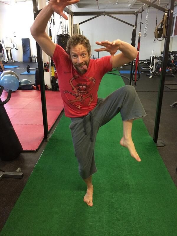 "Kris Holden-Ried ""A little Animal action at the gym.""  <<< Dork. Cute dork."