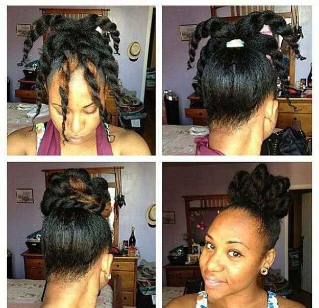 The Twisty Topknot | 29 Awesome New Ways To Style Your Natural Hair pinning for to try on the girls