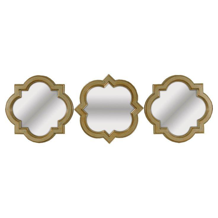 Square Mirror Set Of 3 Light Gold Threshold Mirror