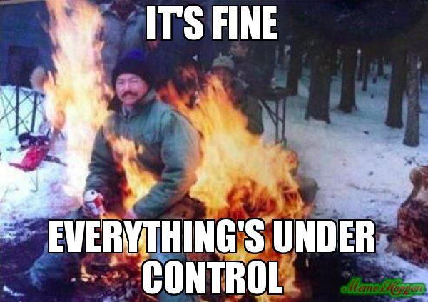 It's fine Everything's under control meme - LIGAF | Memes, Fine meme, Fine  memes