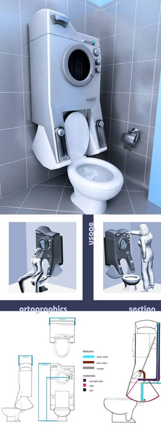 Do excellent space saving idea and does disturb the toilet user or the washing machine user