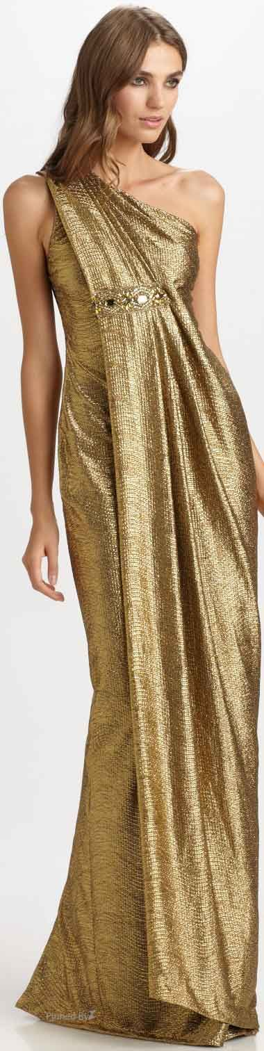 Marchesa Gold lame Gown