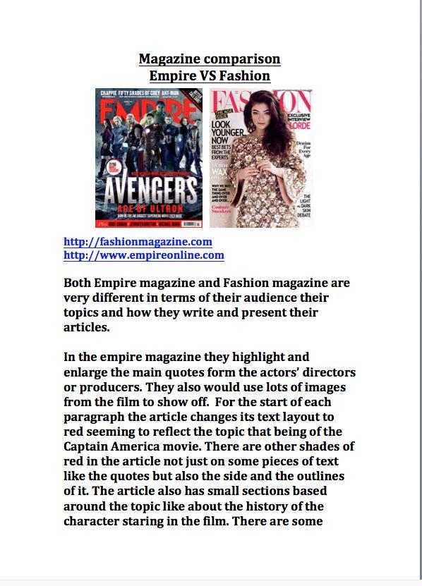 Magazine Comparison P1