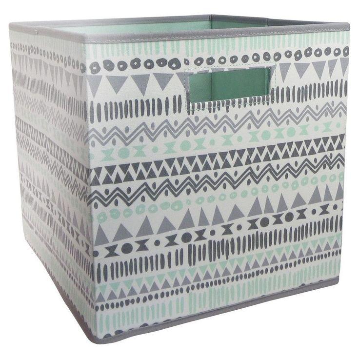 Fabric Cube Storage Bin Aztec Print - Pillowfort, Green