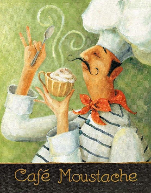 Gravura Café - Cafe Moustache II   Posters e Gravuras de Alimentos e Bebidas e Até 50 x 70  Pictus.com.br