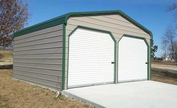 Want protection for your vehicle but don't have the money for an attached garage? See our selection of portable metal garage models today! #carports #portablegarages #metalgarage #enclosedgarage