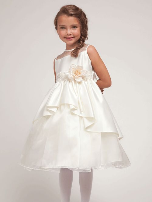 Beautiful Satin Flower Girl Dress with Organza Skirt