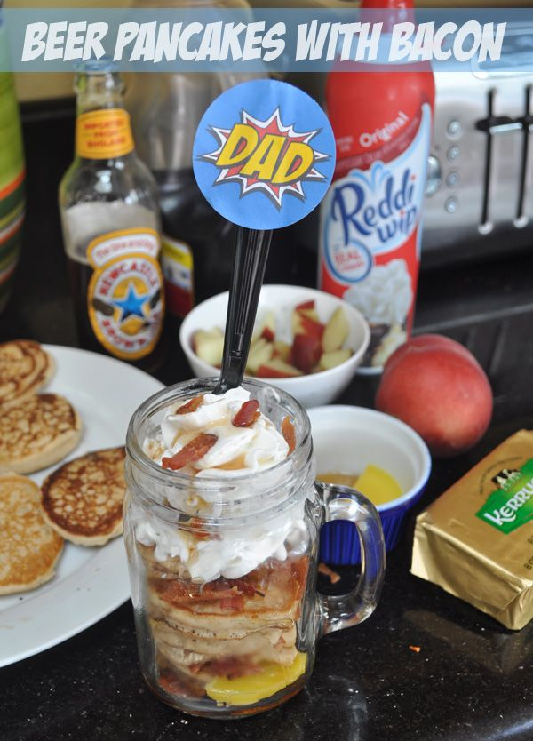 Treat Dad to a yummy Father's Day breakfast - Beer Pancakes with Bacon in a Jar