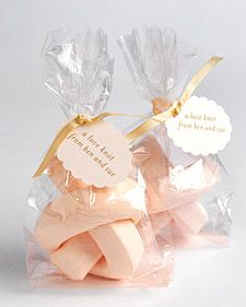 Marshmallows are the new cupcake!  Love knot marshmallow in light pink  - perfect party favor  #polkadotdesign #bridalshower