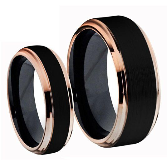 Titanium Black Rose Gold Ring Set #Call Us Now 1-213-787-5882 #Email: customerse…
