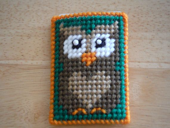Owl Gift Card Case, Owl Decor, Baby Shower, Card Holder, Plastic Canvas, Money Wallet, Business Card, Debit Card