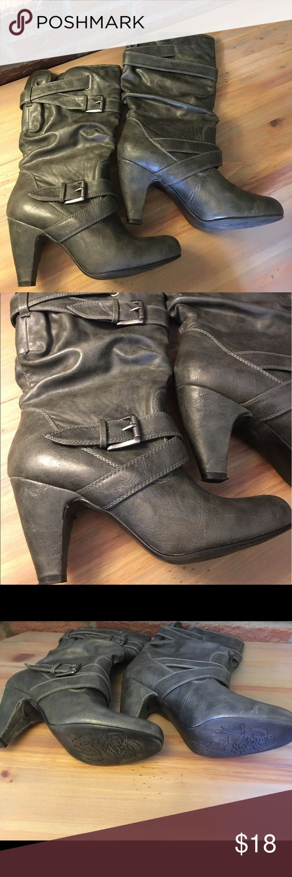 Cute slip on buckle scrunchy boots Distressed black scrunchy boot. Slip on with buckle embellishments. Silver hardware. EUC!! Heel is about 3in. Boots themselves are about 13.5 in tall. Shoes Heeled Boots