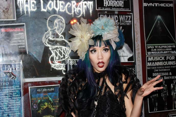 La Carmina visits HP Lovecraft Bar in Portland, as a Goth Fairy! See her new blue-green mermaid hair and Halloween outfit photos here:  http://www.lacarmina.com/blog/2013/11/goth-fairy-lip-service-lovecraft-bar-portland-restaurants/  the lovecraft bar, portland or