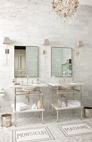 Betty Lou Phillips - European elegance, monsieur and madame floor tiles, tiled wall and floor, chandelier, exposed pipes