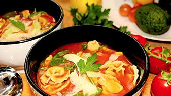 Tomato Soup With Spinach And Ricotta Tortellini