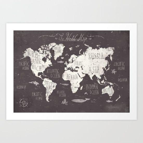 The World Map Art Print by Mike Koubou - $18.00