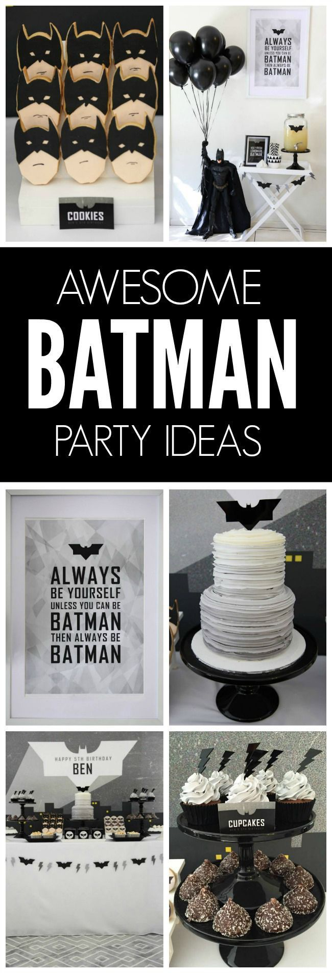 This fun, modern take on a birthday party will have all of the party  goers feeling like Dark Knight himself. Pair this fun idea with cookie baterangs for the extra Batman touch.