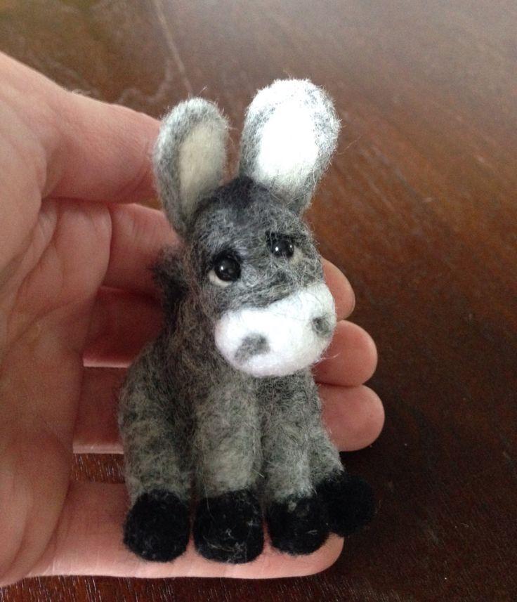Needle Felted Animal Needle Felted Donkey grey miniature donkey OOAK Handmade soft sculpture miniature pet Gift Idea doll house pet unique