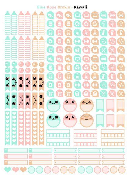 Kawaii Rose Bleu Beige Printable stickers 3 par Lateliercreatif06