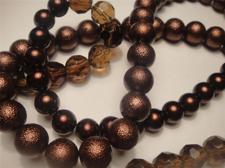 vintage estate crystal #glass pearl #necklace stunning three different glass beaded retro 70's 80cm long expires 27th November 2014