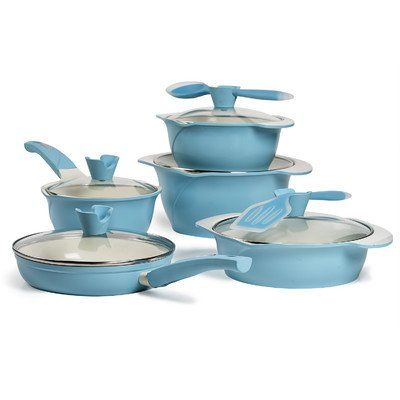 Ceramic Nonstick Cast Aluminum 12 Piece Cookware Set Color Verona Sky ** Check out this great product.  This link participates in Amazon Service LLC Associates Program, a program designed to let participant earn advertising fees by advertising and linking to Amazon.com.