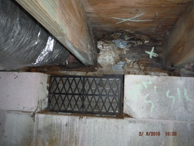 Termite and Moisture damage behind front porch (before) Virginia Beach