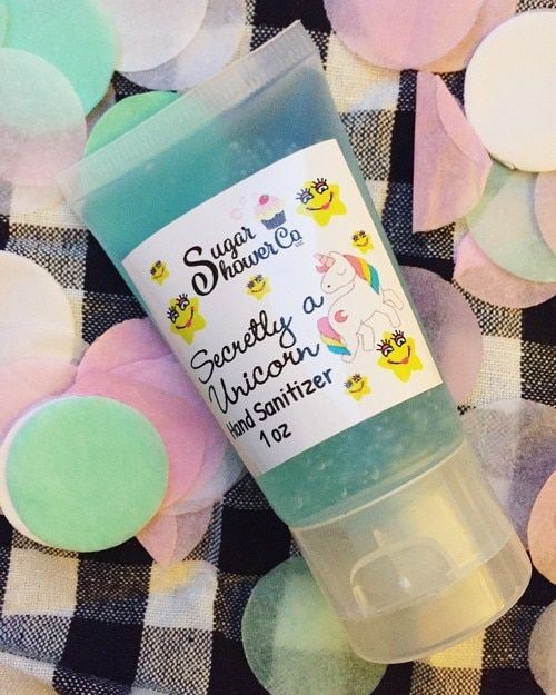 Secretly A Unicorn Hand Sanitizer Purse Size Blue Raspberry