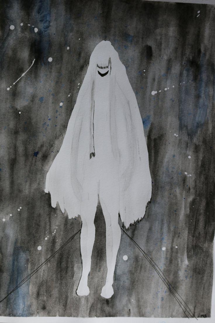 Illustration avec lavis aquarelle d'une Dame Blanche (mythes et légendes urbaines) de la boutique SwordandStar sur Etsy