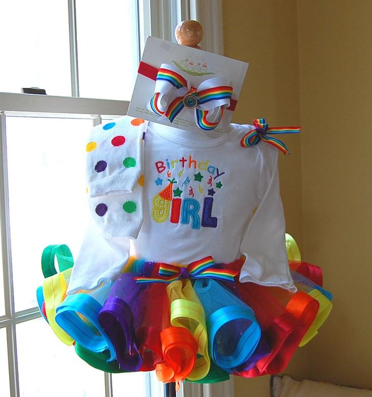 Rainbow Birthday Ribbon Trimmed Tutu Set With Matching Bow