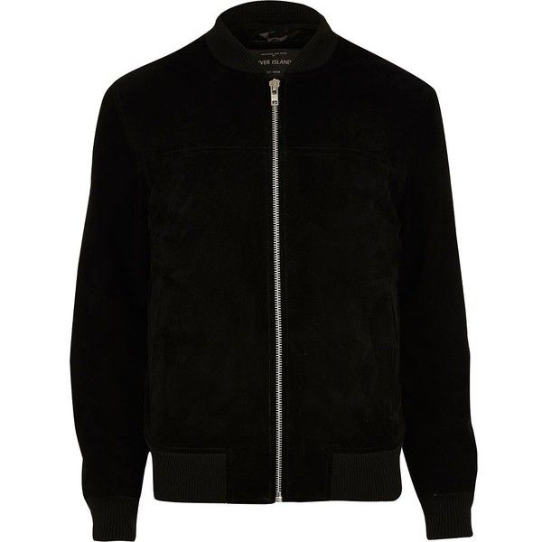 River Island Black suede bomber jacket ($160) ❤ liked on Polyvore featuring men's fashion, men's clothing, men's outerwear, men's jackets, black, jackets, mens suede jacket, mens suede bomber jacket, mens suede leather jacket and tall mens jackets
