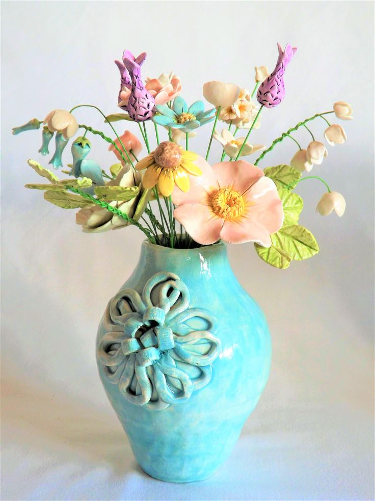 ceramic flowers and vase