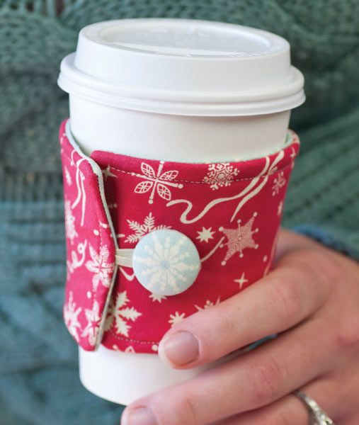 Keep your coffee hot and your hands cool with a simple fabric coffee cozy in your favorite fabrics.