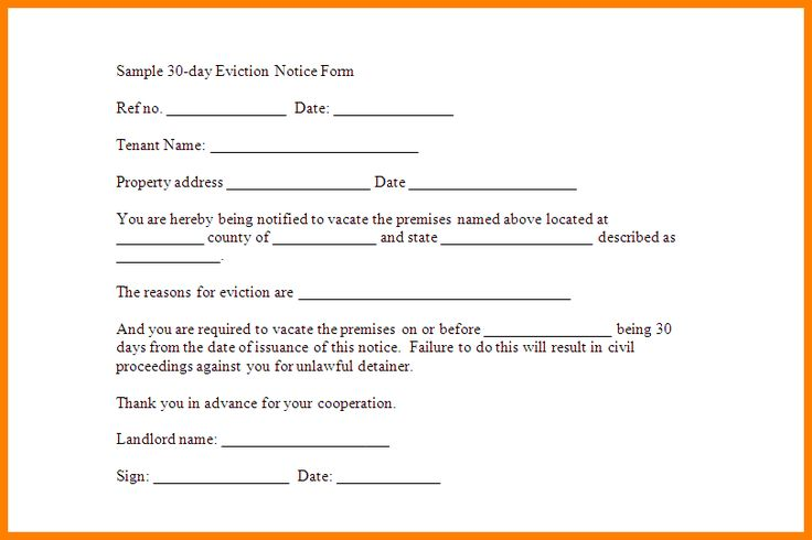 Printable Eviction Notice Form Sample Eviction Notice Template