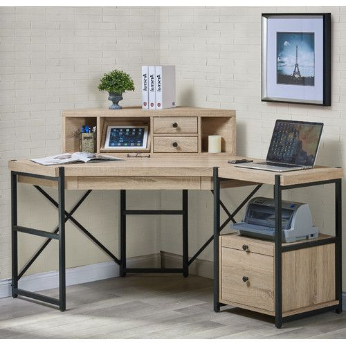 I do really want a file drawer, and I like how the printer's neatly tucked away, and there's also a hutch, but I don't really want a corner desk, and I don't love the metal or the color of the wood... but it's got good features.