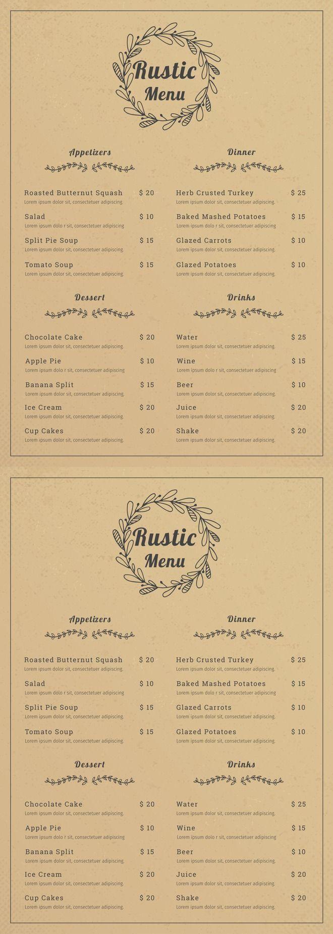 Rustic Menu Template Free Psd Illustrator Word Apple Pages Publisher Template Net Menu Design Template Menu Design Inspiration Menu Template Free editable restaurant menu templates
