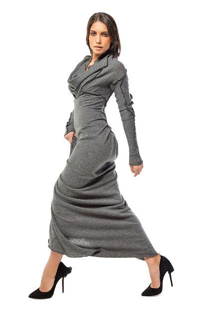 Платье-свитер (серый)