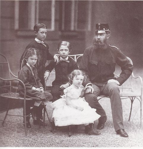 Archduke Karl Ludwig of Austria with his children from his first marriage, from left to right: Archduke Ferdinand Karl, Archduke Otto Franz, Archduke Franz Ferdinand and Archduchess Margarete Sophie of Austria. Circa 1872.