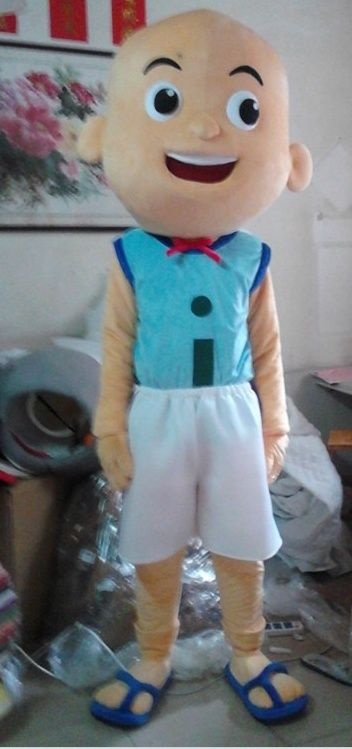 Halloween Cartoon Lovely Blue <font><b>Shirt</b></font> Black Trousers Bald Boy Mascot Costume Outfit Fancy Dress Suit Adult Size Free Shipping