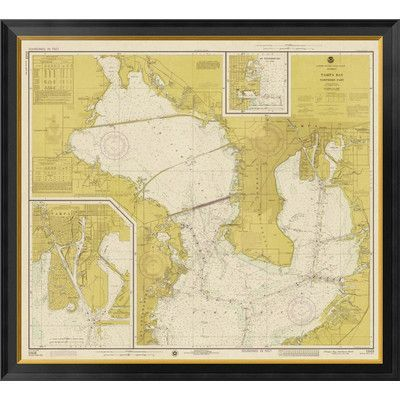 Global Gallery Nautical Chart - Tampa Bay - Northern Part ca. 1975 - Sepia Tinted Framed Graphic Art on Canvas Size: