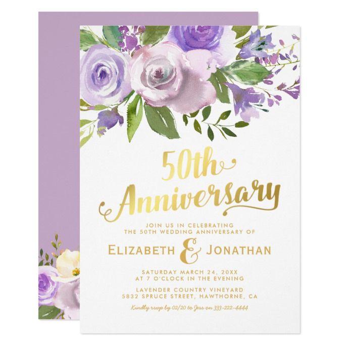 50th Wedding Anniversary Purple Gold Floral Invitation Zazzle Com Wedding Anniversary Invitations Floral Invitation 50th Wedding Anniversary Invitations