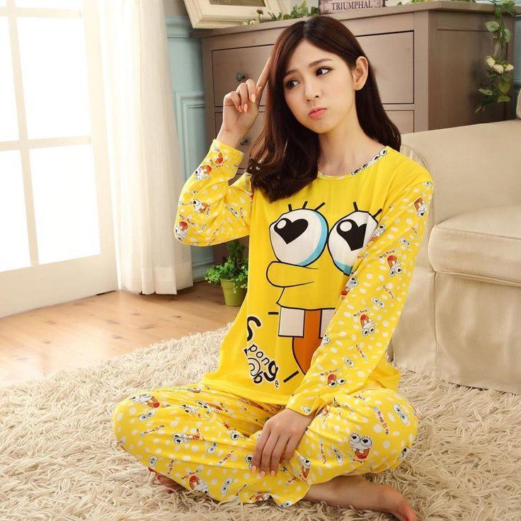 $15.98 - Womens Cute Spongebob Cotton Long Sleeve Pajamas Set 2 Piece