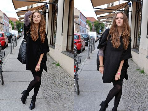 Get this look: http://lb.nu/look/1176945  More looks by Jana Couture: http://lb.nu/midnightcouture  Items in this look:  H&M Poncho, Primark Bag, H&M Booties