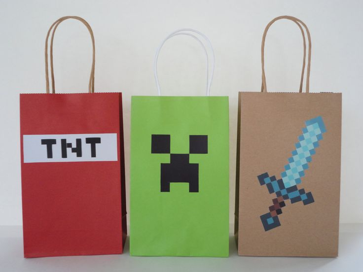 Instant Download Mine themed Favor Bags DIY - Minecraft Party/ Goody/ Candy Bags/ Goodie Bags - Minecraft Video Game Birthday Party -DIGITAL by CreativePartyStudio on Etsy