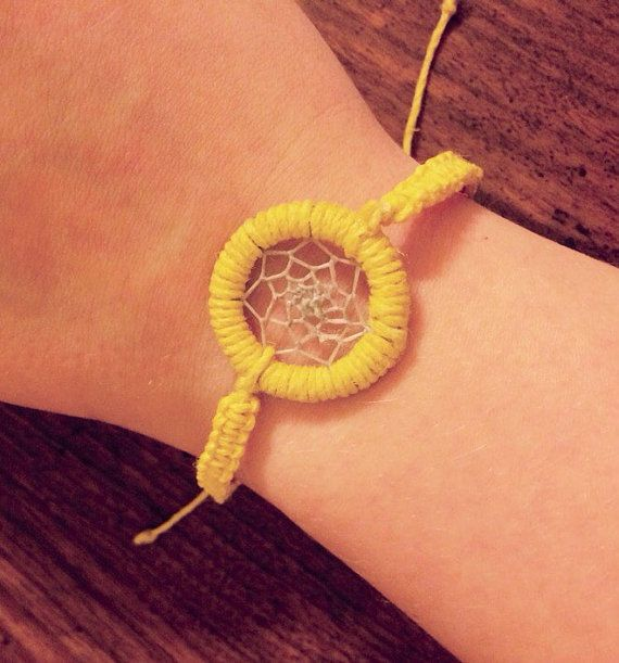 Dream Catcher Bracelet Yellow made Adjustable by KnotTreasures