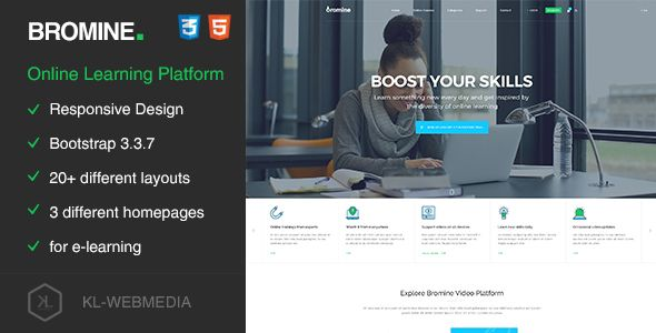 Bromine - Online Learning Platform HTML5 Template . Bromine has features such as High Resolution: Yes, Compatible Browsers: IE9, IE10, IE11, Firefox, Safari, Opera, Chrome, Edge, Compatible With: Bootstrap 3.x, Columns: 4+