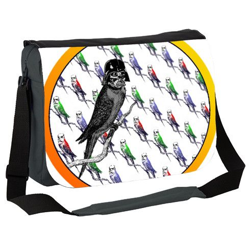Star Birds Messenger Bag. Sci-fi mash-up featuring an intergalactic budgie garrison of stormpoopers with their dark lord, Darth Feather! #scifi #geeks #nerds #geekfashion #nerdwear #birds #vader #ornithology