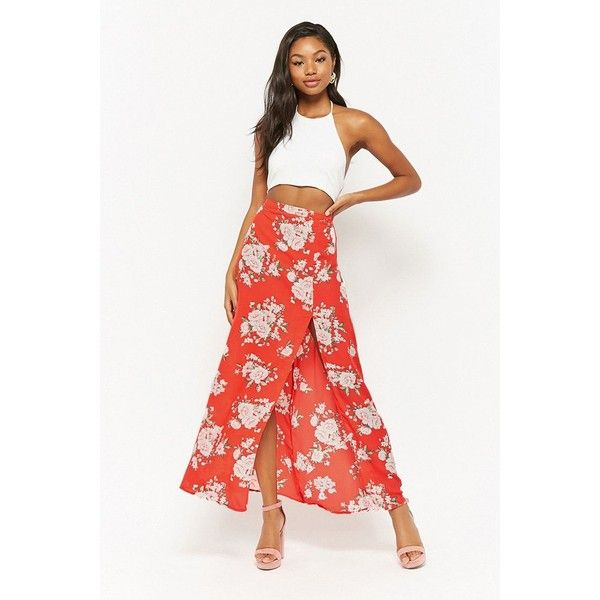 Forever21 Floral Maxi Skirt ($18) ❤ liked on Polyvore featuring skirts, red, white slit skirt, long skirts, floral skirts, forever 21 maxi skirt and white floral maxi skirt