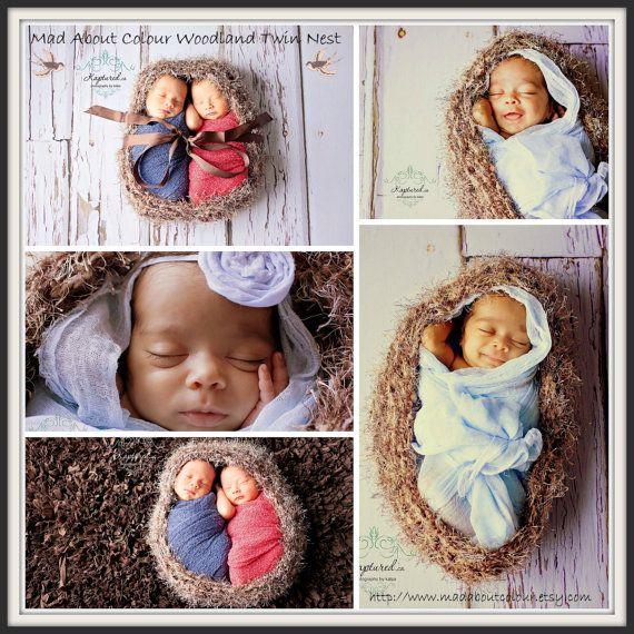 Gemelos recién nacidos bebé Cocoon nido punto bebé foto PRoP