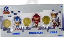 """Sonic 25 Anniversary 2.5"""""""" Plastic Action Figure W Coins Sonic, Knuckles, Tails"""